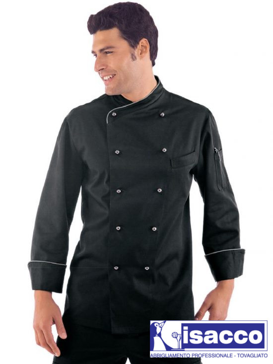 CHEF JACKET LONG SLEEVE BLACK AND SILVER BALL BUTTONS 37,20€