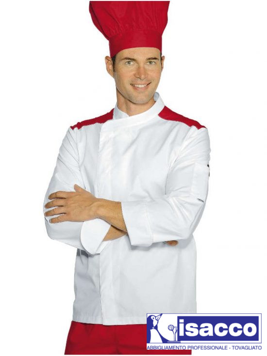 CHEF JACKET WITH COLOURED NET ON SHOULDERS 32,24€