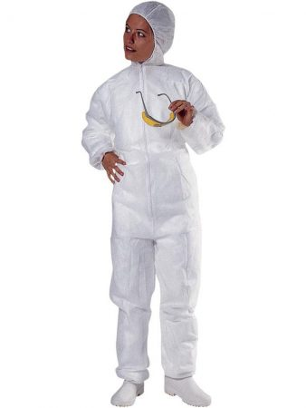 WHITE POLYPROPYLENE HOODED OVERALL 2,60€