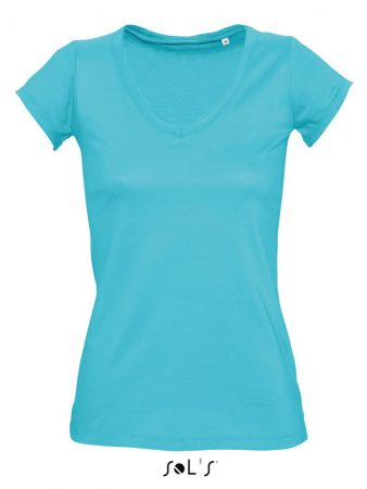 WOMEN'S V-NECK ROLLED AND RAW-CUT FINISHED T-SHIRT 8,43€–10,29€